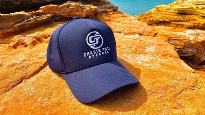 CHASIN TAIL SIGNATURE D-LUX 5 Panel Trucker Hat. Navy Blue