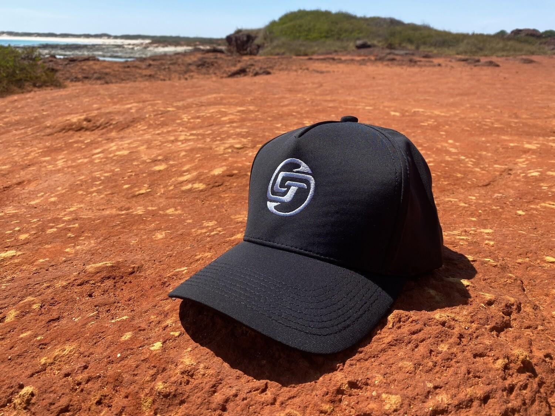 CHASIN TAIL SIGNATURE LOGO D-LUX 5 Panel Trucker Hat. Black