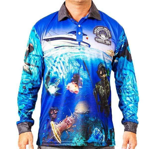 BLOOD SWEAT AND SPEARS - UV sublimated long sleeve Spearfishing shirt