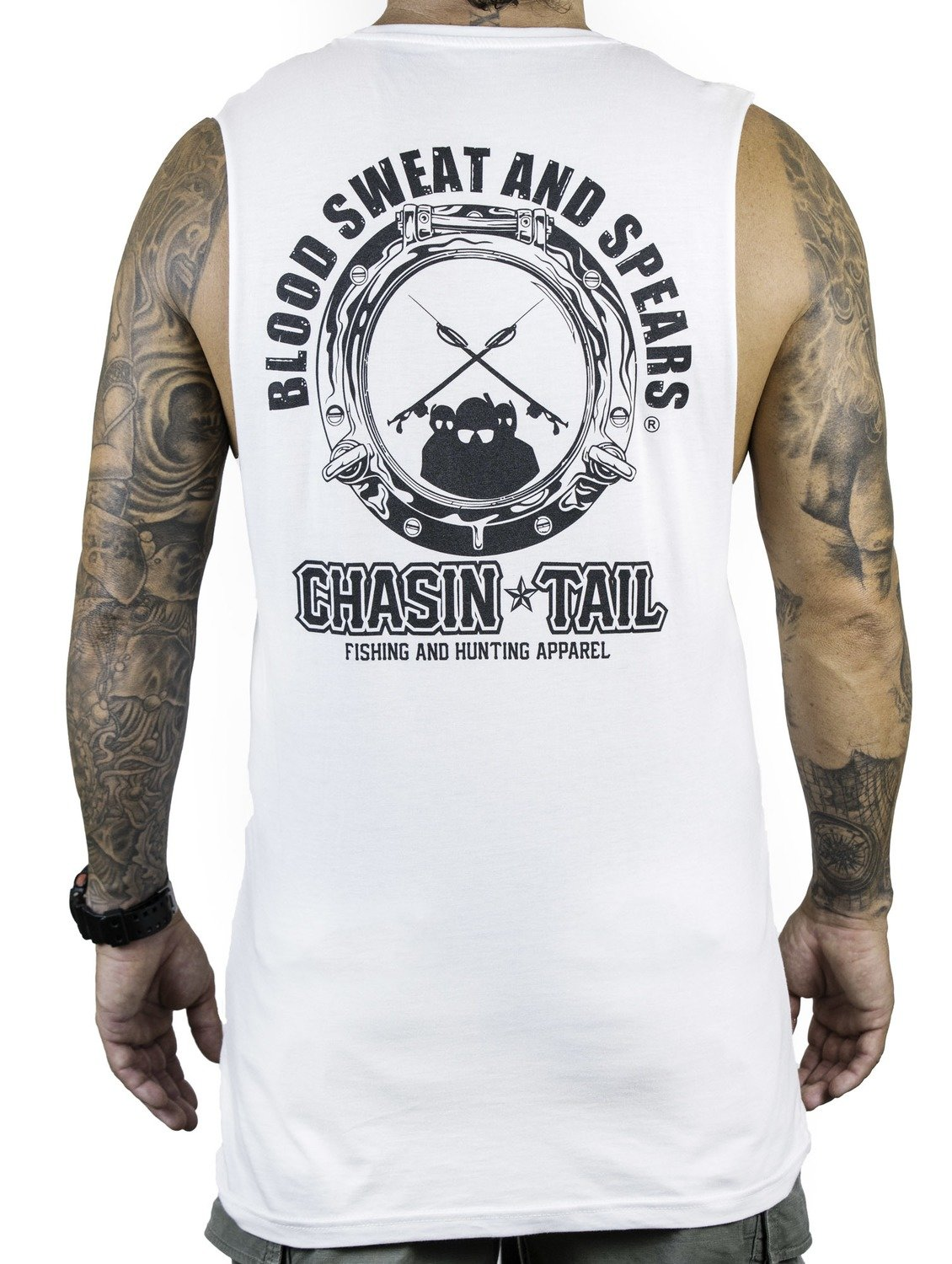 BLOOD SWEAT AND SPEARS muscle singlet / white