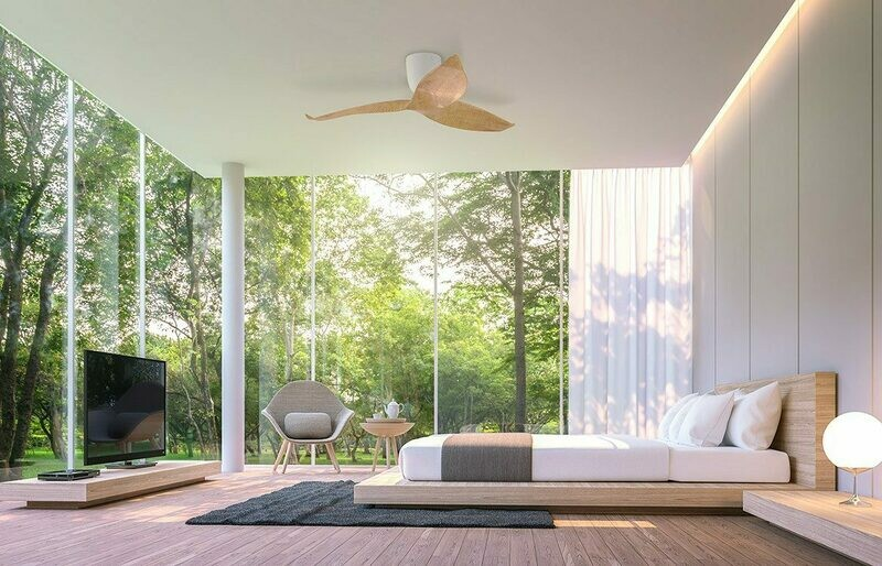 AERATRON AE3+ 50 LIGHT WOOD & WHITE - Contemporary Ceiling Fans