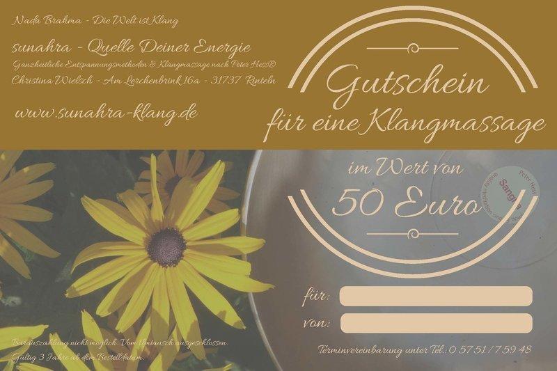 Klangmassage-Gutschein im Wert von 50 €