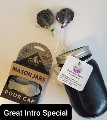 Special BUNDLE! 1 16oz Elderberry Syrup , 1 pour spout lid and 2 elderberry lollipops