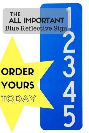 Blue Reflective Address Sign