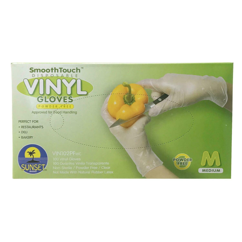 Medium Disposable Vinyl Gloves - 100 count