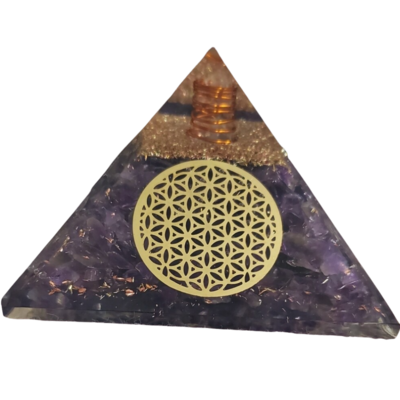 Orgone Pyramid | Flower Of Life | EMF Protection Orgone Pyramid | Meditation