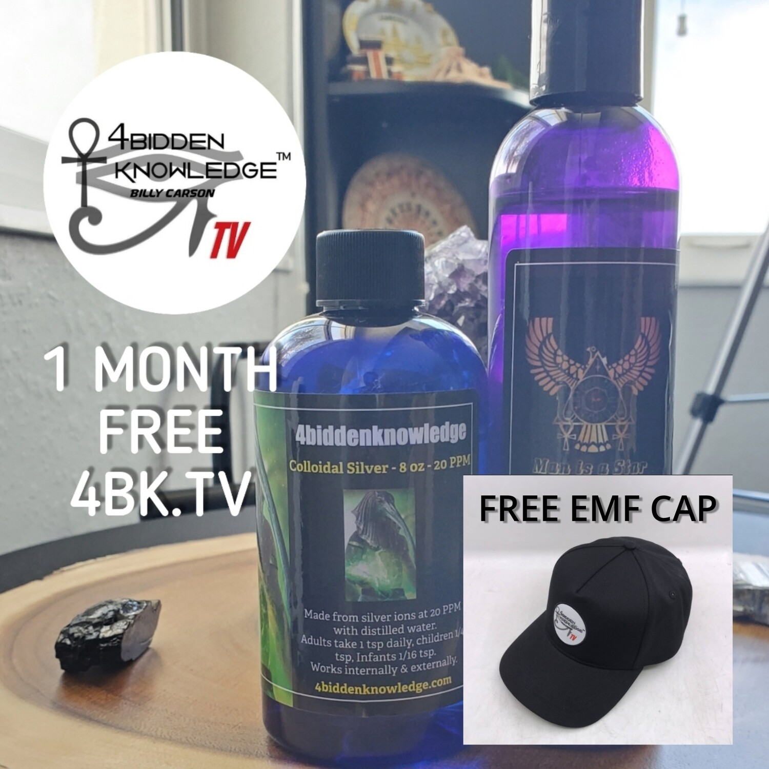 Alchemical Elixir of the Anunnaki - Starfire Gold - Liquid Ormes - 8 oz And COLLOIDAL SILVER 8 OUNCE - FREE EMF FITTED CAP - 1 FREE MONTH OF 4BIDDENKNOWLEDGE TV