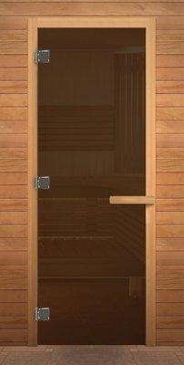 Дверь для сауны. ДС Бронза 1900х700мм (6мм) (716) (кор. хвоя)(левая)