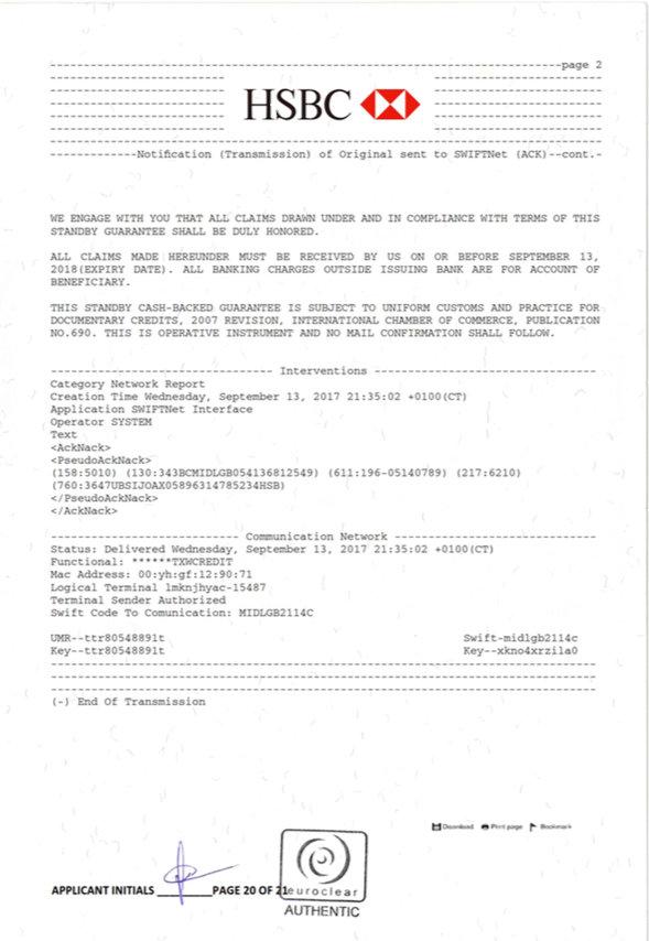 Bank guarantee provider - Bank instrument provider - Letters of credit provider - BG/SBLC MT760