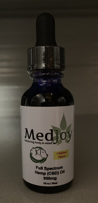 MedJoy™ For Pets - Full Spectrum Hemp (CBD) Oil Tincture 900mg Chicken Flavor