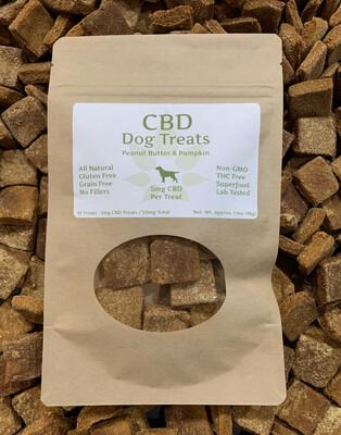 MedJoy™ Peanut Butter & Pumpkin CBD Treats For Dogs - Organic/Non-GMO Ingredients, Gluten Free & Grain Free - Approx. 5mg CBD Per Treat - 10ct Per Bag