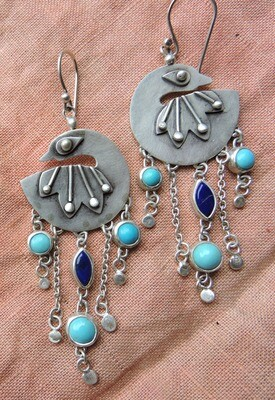Proudly Plumed Peacocks - Turquoise & Lapis Lazuli