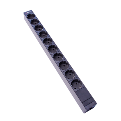 Steckdosenleiste 1HE 10xTyp F (CEE 7/3) schwarz (Schutzkontakt), Stecker Typ F (CEE 7/4)