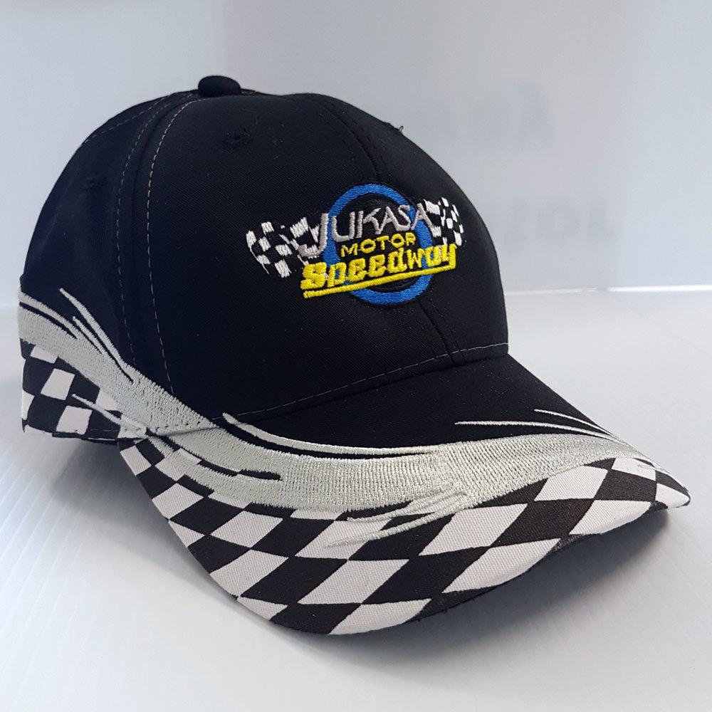 Checkered Flag Cap, Black (Adjustable)