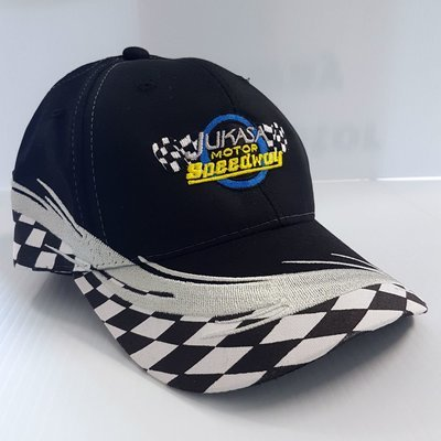 Checkered Flag Cap, Black (Adjustable)