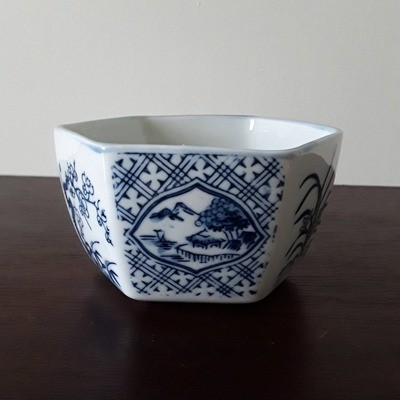 Vintage Blue and White Porcelain Hexagonal Bowl