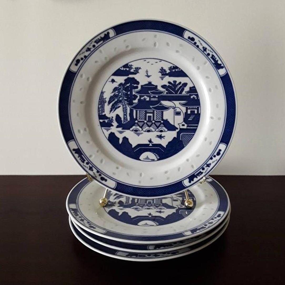 Set of 4 Vintage Blue and White Canton Porcelain Plates