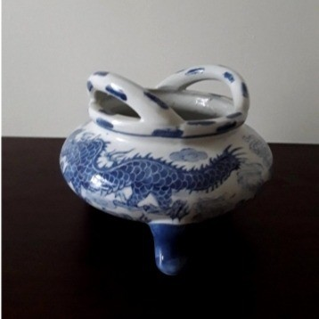 Vintage Blue and White Chinese Porcelain Dragon Pot