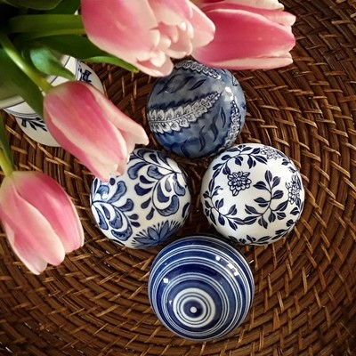 Set of 4 Vintage Blue and White Chinese Porcelain Carpet Balls