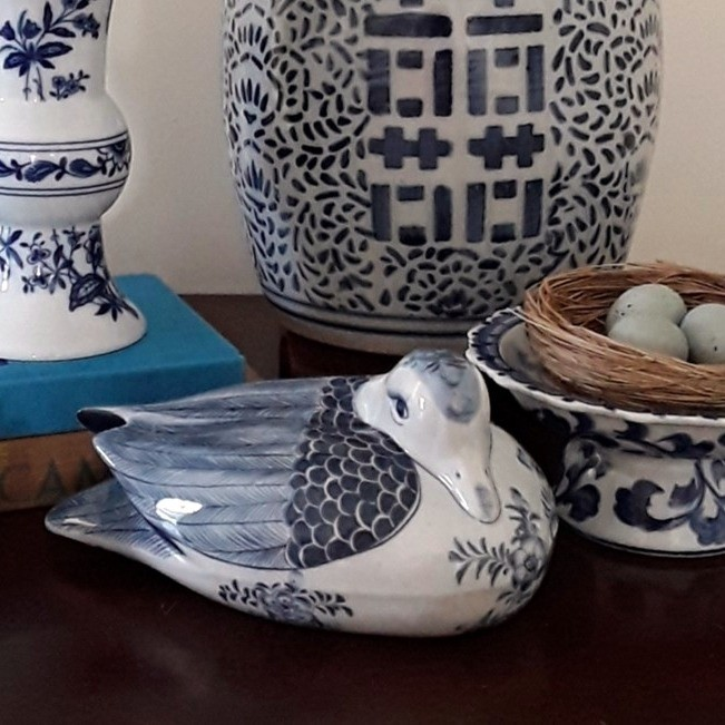 Vintage Maitland-Smith Blue and White Porcelain Duck Figurine
