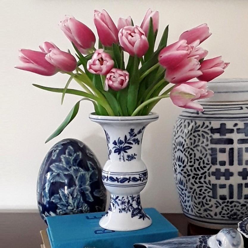 """Vista Alegre Blue and White """"Margão"""" Porcelain Vase"""