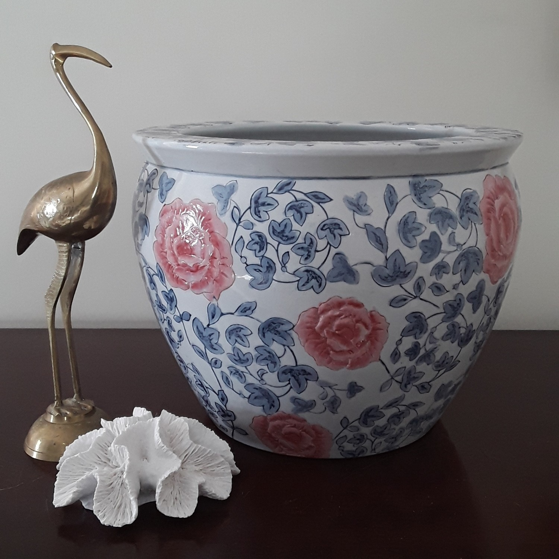 Vintage Blue and White Porcelain Fishbowl Planter