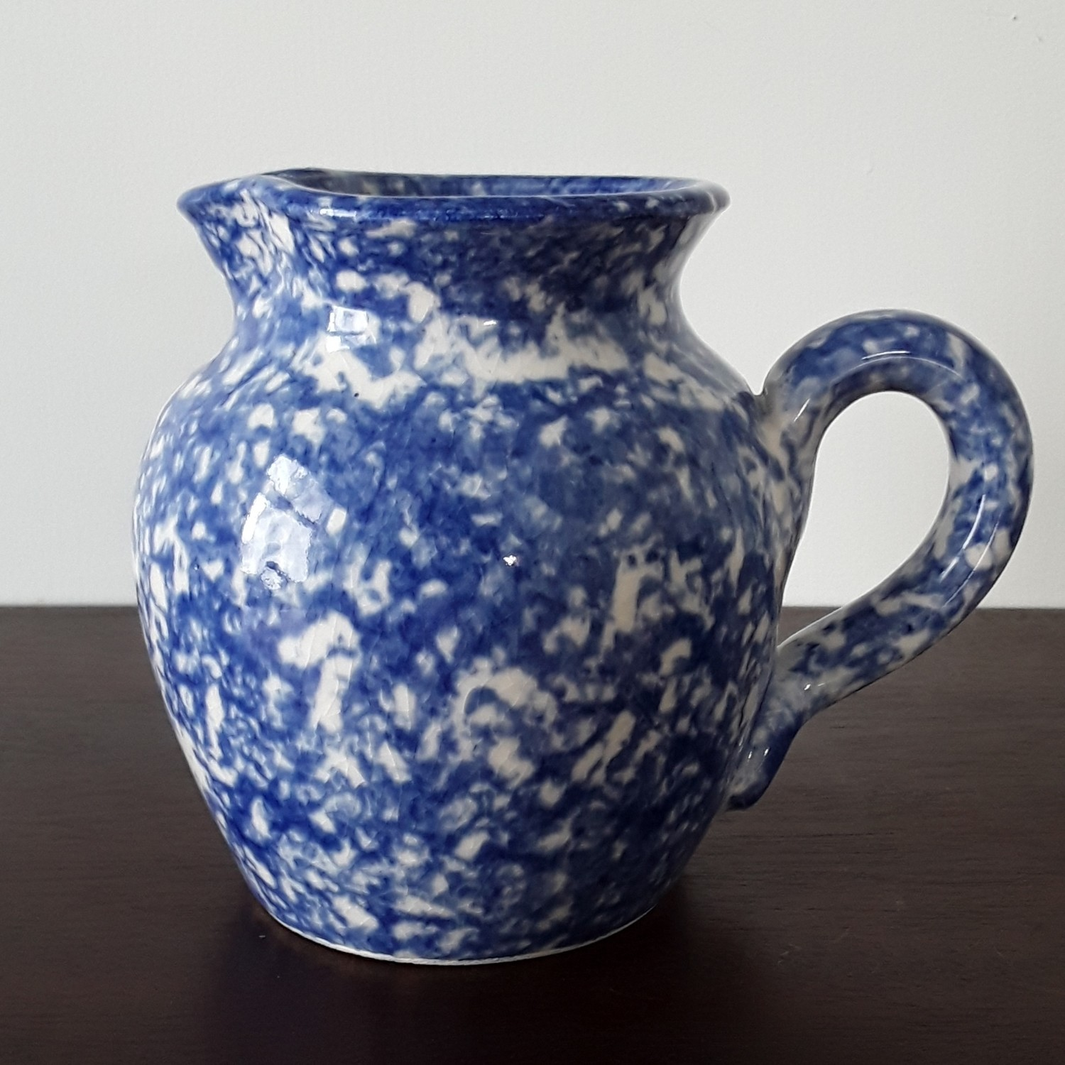 Vintage Blue and White Spongeware Ceramic Pitcher