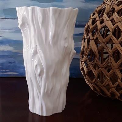 White Porcelain Faux Bois Vase