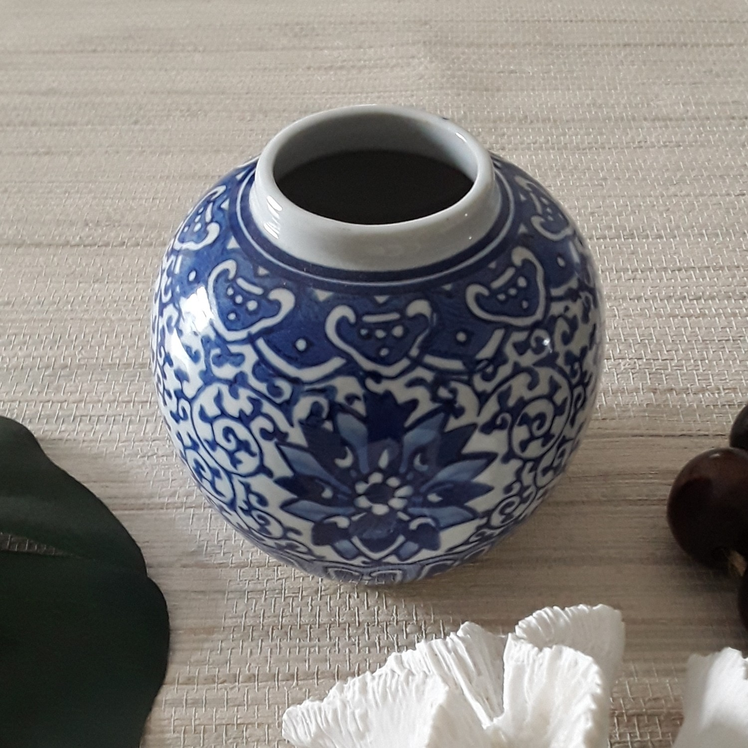 Small Vintage Blue and White Vase