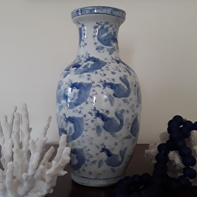 Vintage Blue and White Porcelain Fish Vase