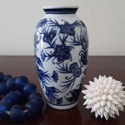 Vintage Blue and White Porcelain Floral Vase