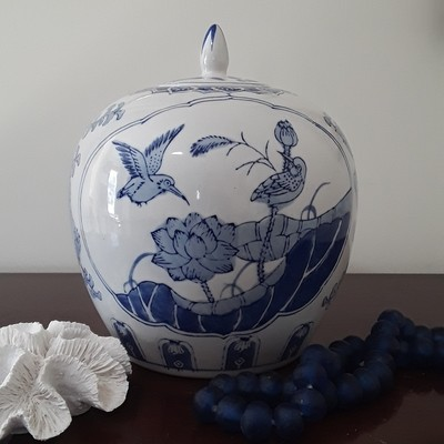 Vintage Blue and White Porcelain Melon Jar with Lid - Bird and Lotus Motif