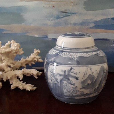 Vintage Blue and White Chinese Porcelain Lidded Jar