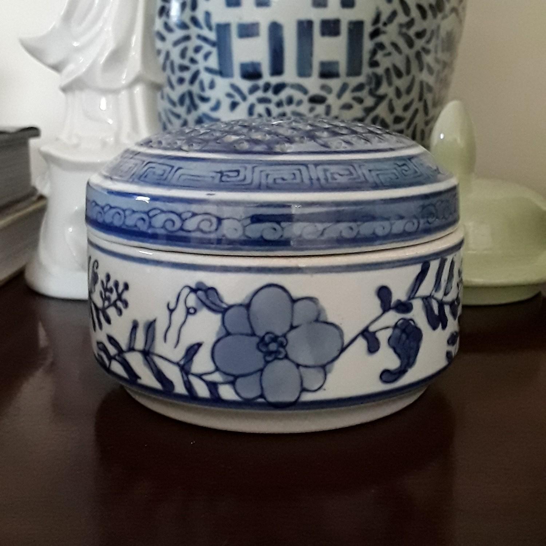 Vintage Blue and White Porcelain Round Trinket Box