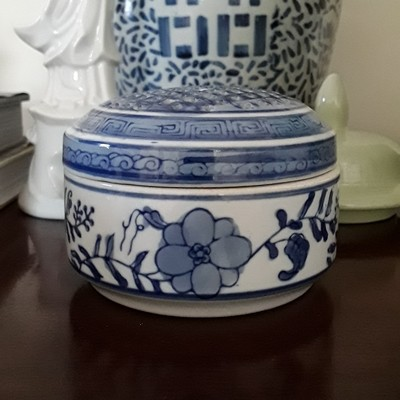 Vintage Blue and White Porcelain Round Trinket Box