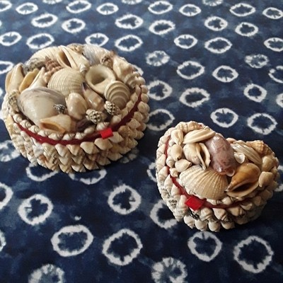 Set of 2 Vintage Shell Sailor's Valentine Boxes