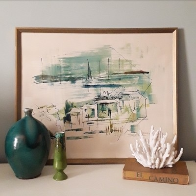 Framed Original Signed Alfred Birdsey (1912-1996) Abstract Bermuda Watercolor Painting