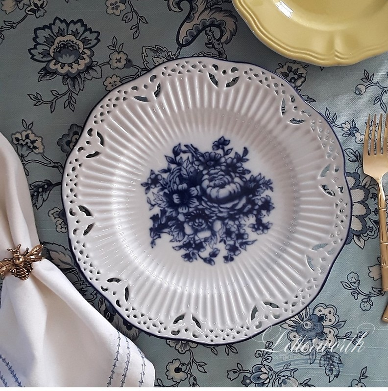Vintage Blue and White Reticulated Porcelain Plate
