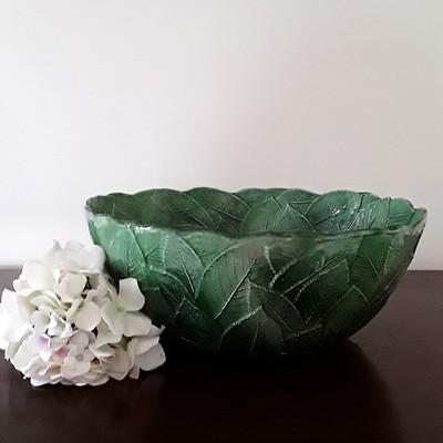 Large Vintage Green Vietri Italian Majolica Leaf Bowl