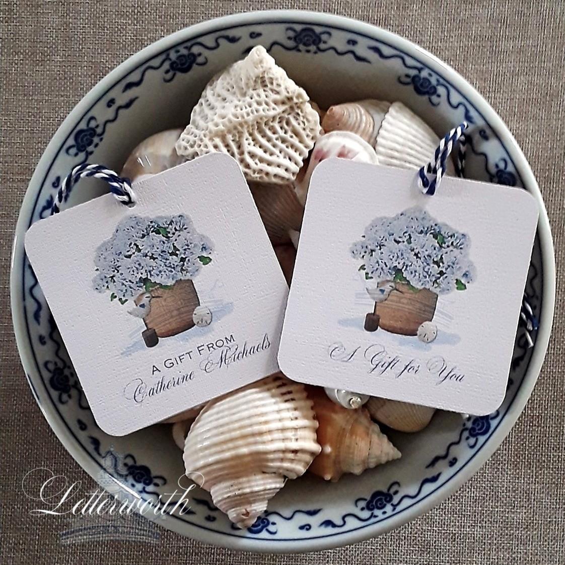 Blue Hydrangeas in Nantucket Basket Watercolor Gift Tags by Letterworth (Set of 12)