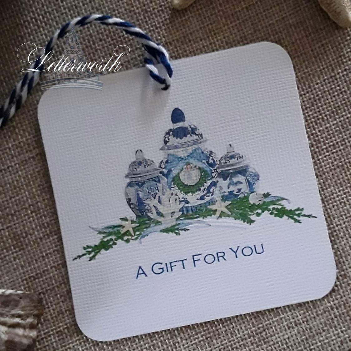Coastal Ginger Jar Watercolor Gift Tags by Letterworth (Set of 12)