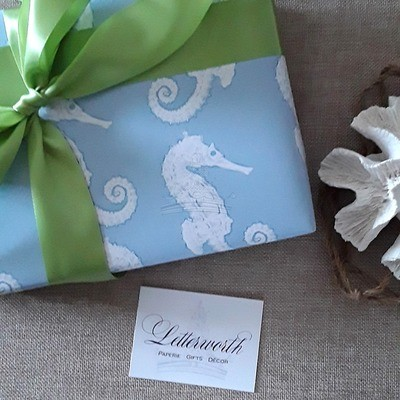 Blue Watercolor Seahorse Gift Wrapping Paper by Letterworth