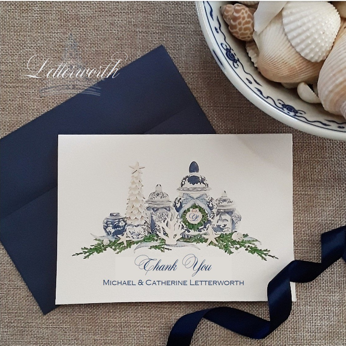 Letterworth Blue and White Coastal Ginger Jar Watercolor Note Cards (Set of 8)