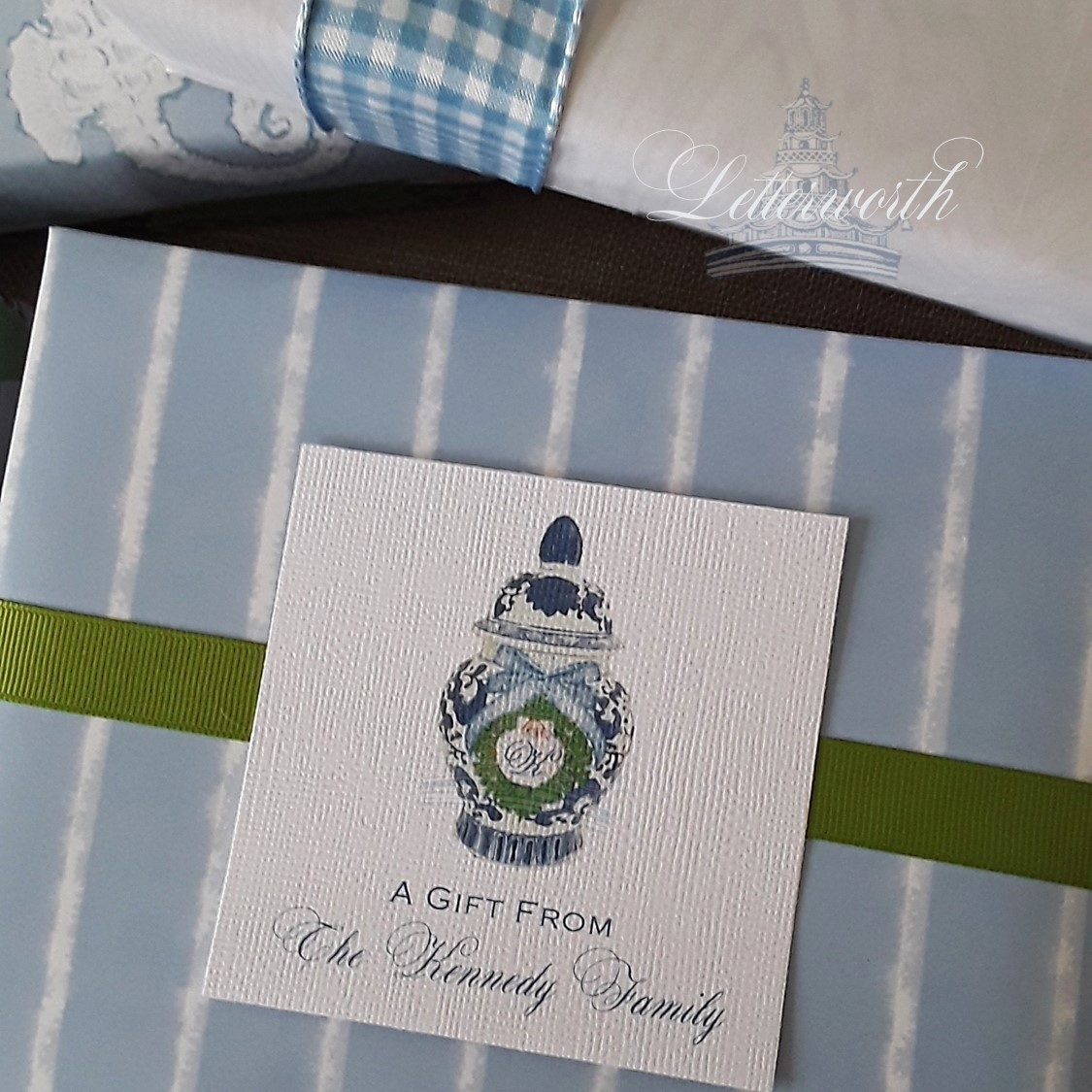 Faded Blue Chambray Stripe Gift Wrapping Paper by Letterworth