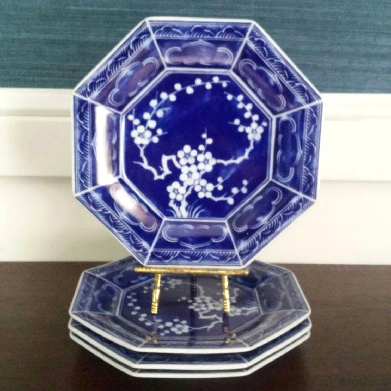 Vintage Mikasa Plum Blossom Blue and White Porcelain Octagonal Luncheon Plates (Set of 4)