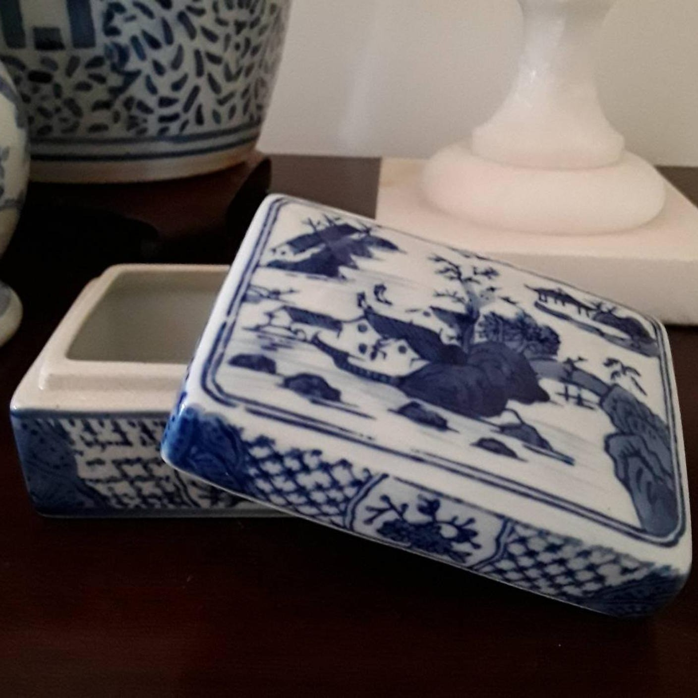 Vintage Blue and White Chinese Porcelain Trinket Box