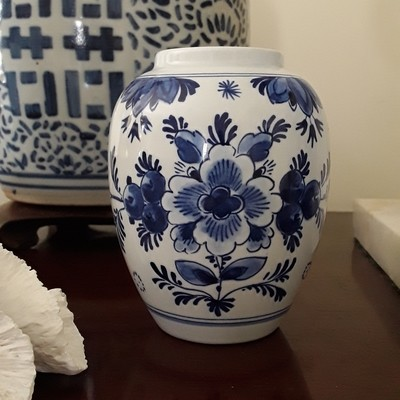 Vintage Royal Delft Blue and White Porcelain Vase