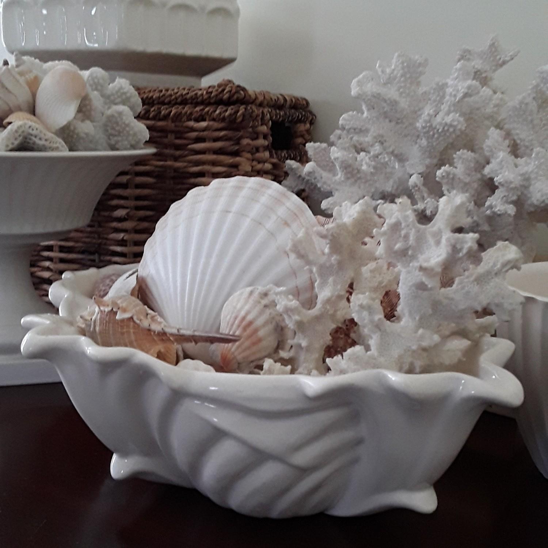 Vintage Cream White Ceramic Scalloped Planter