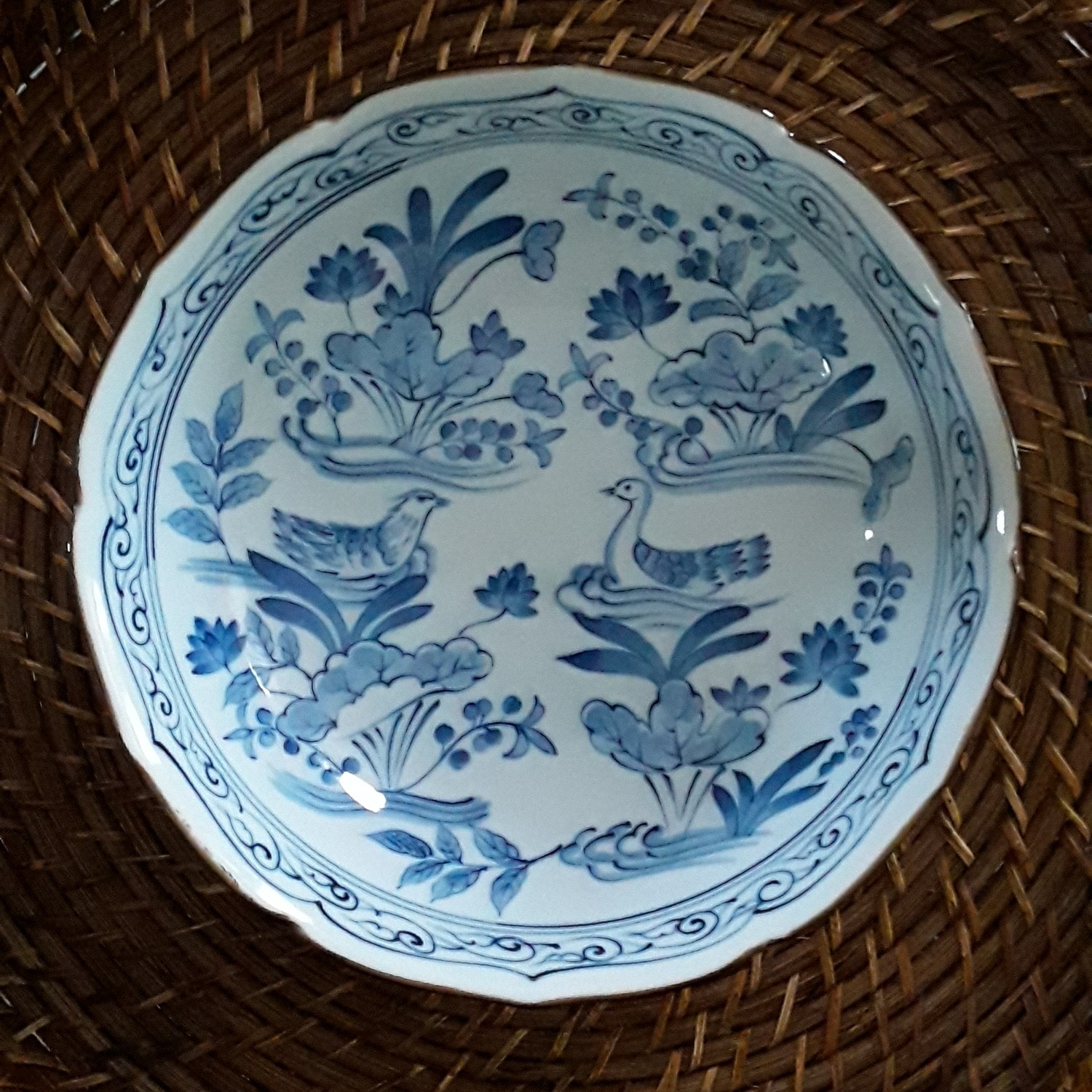 Vintage Blue and White Arita Porcelain Bowl - Mandarin Ducks