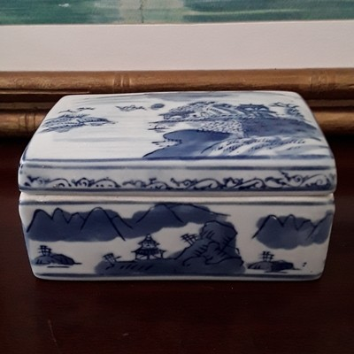 Vintage Rectangular Blue and White Porcelain Trinket Box